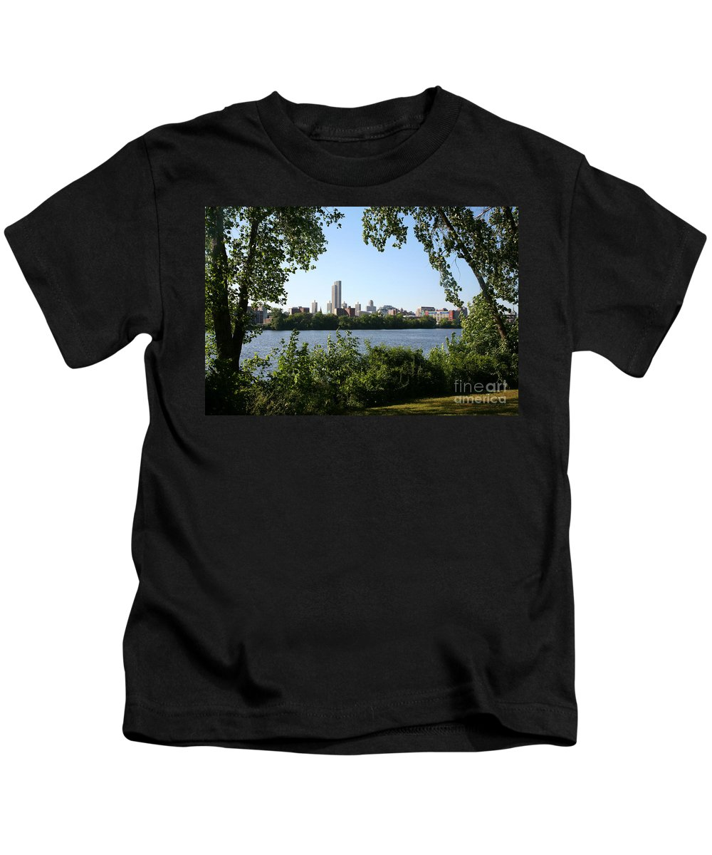 Empire State Plaza Kids T-Shirt featuring the photograph Albany Skyline by Bill Cobb