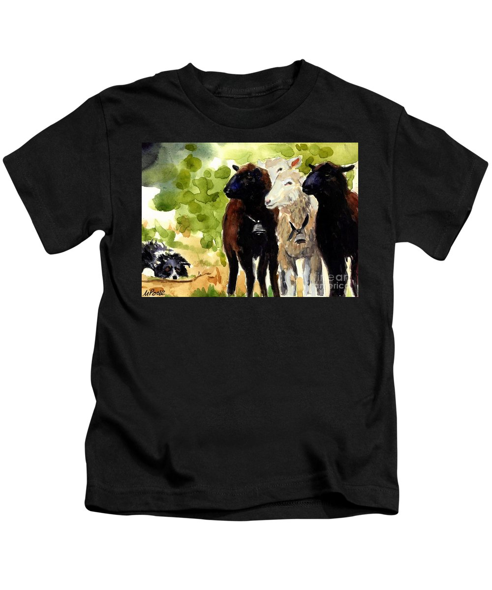 Sheep Kids T-Shirt featuring the painting All Eyes by Molly Poole