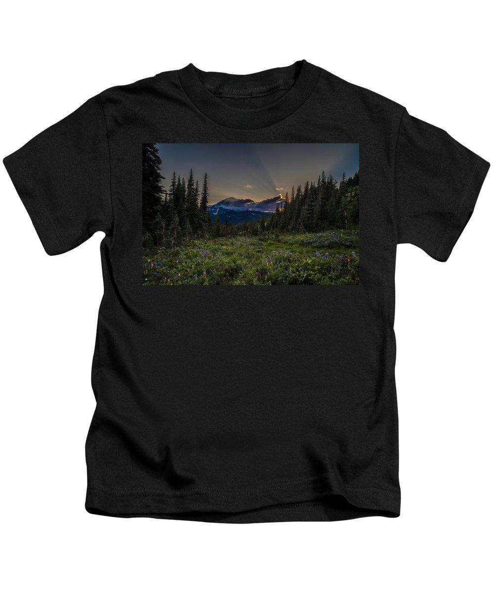 Rainier Kids T-Shirt featuring the photograph Alpine Meadow Sunrays by Mike Reid