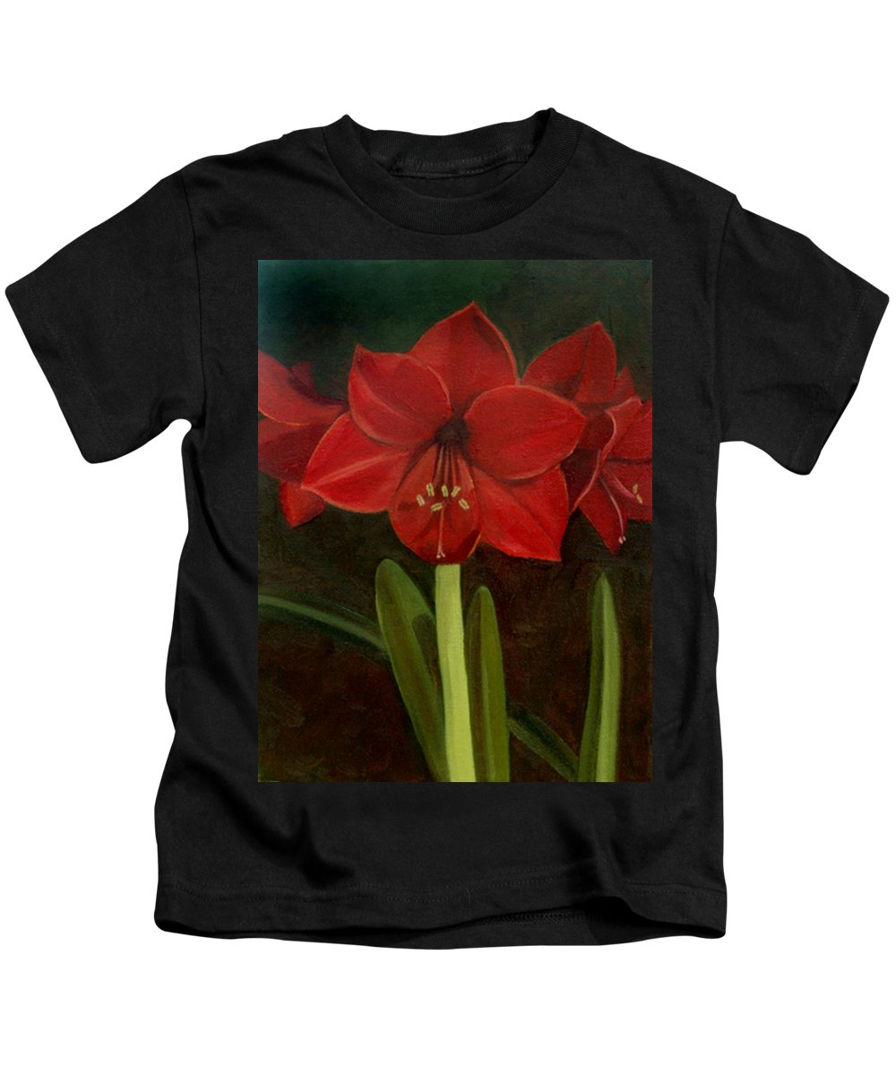Amaryllis Kids T-Shirt featuring the painting Amaryllis by Nancy Griswold
