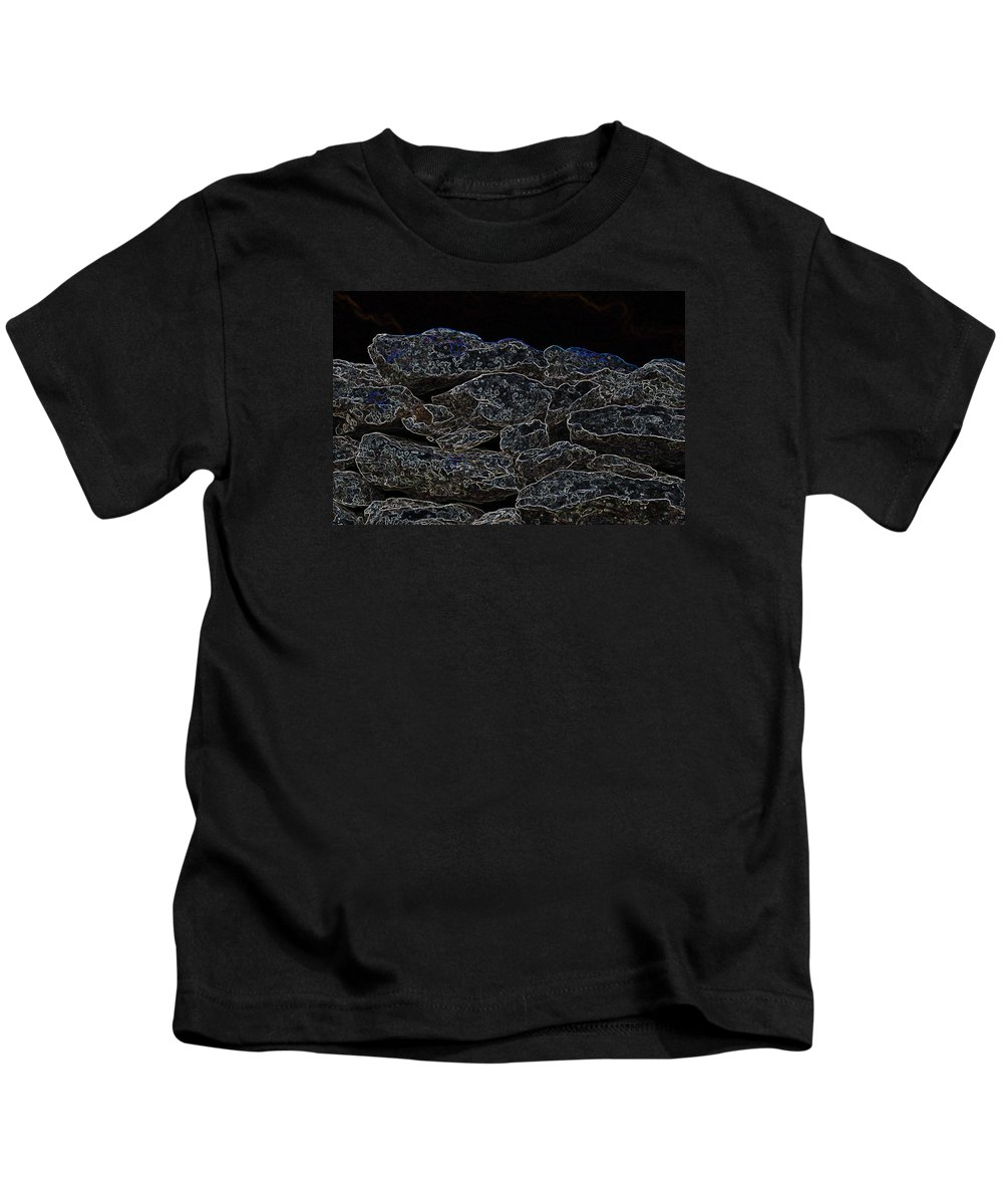 Irish Photography Kids T-Shirt featuring the photograph An Abstract View Of An Irish Dry Stone Wall by Dave Byrne
