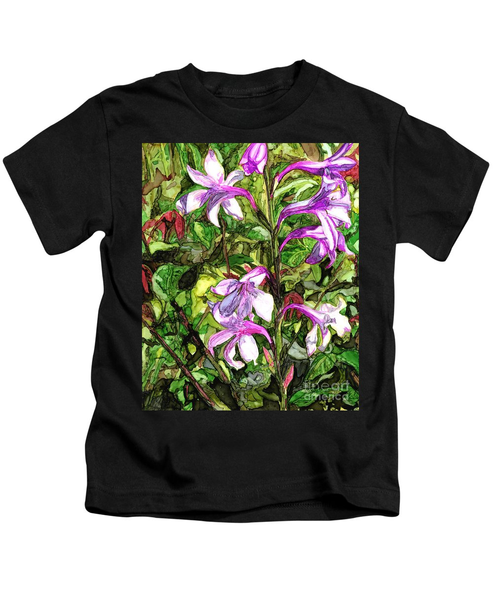 Floral Kids T-Shirt featuring the painting Art In The Garden II by Vicki Baun Barry