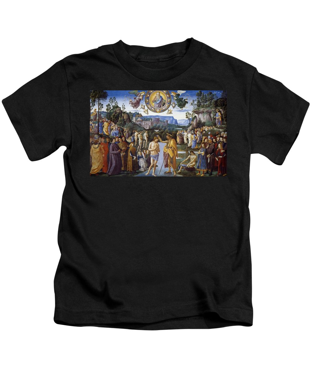 1481-1483 Kids T-Shirt featuring the painting Baptism Of Christ by Pietro Perugino