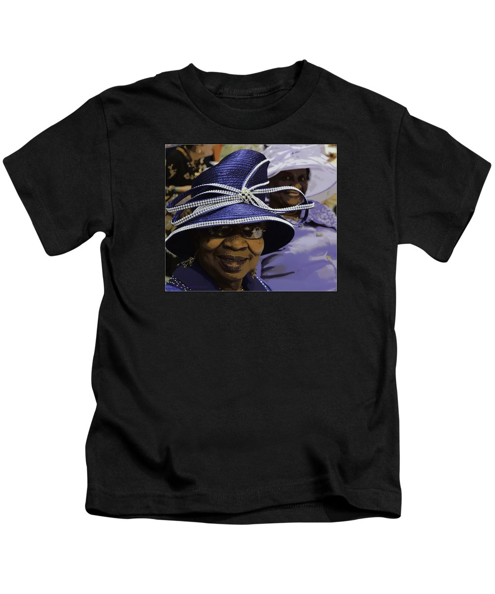 Hats Kids T-Shirt featuring the photograph Beautiful Ladies In Purple Hats by Kathy Barney