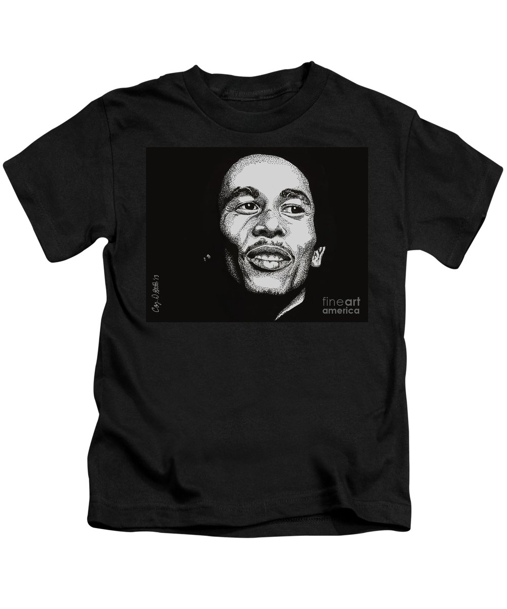 Bob Marley Kids T-Shirt featuring the drawing Bob Marley by Cory Still