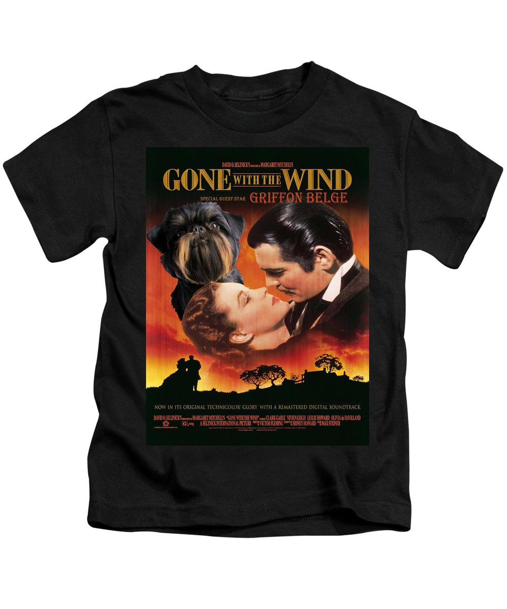 Brussels Griffon Kids T-Shirt featuring the painting Brussels Griffon Art - Gone With The Wind Movie Poster by Sandra Sij