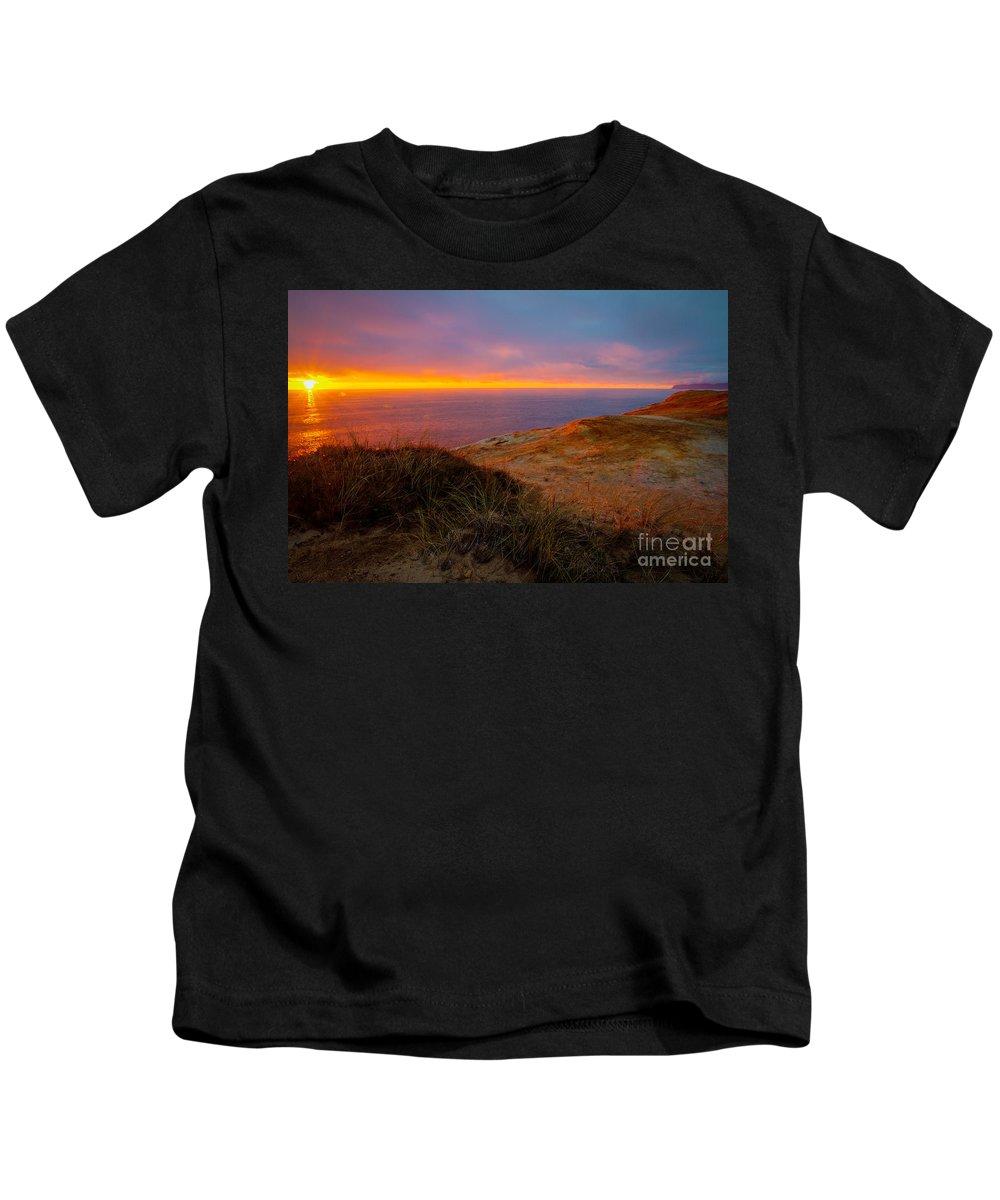 Cape Kiwanda Kids T-Shirt featuring the photograph Cape Kiwanda Sunset by Matt Hoffmann