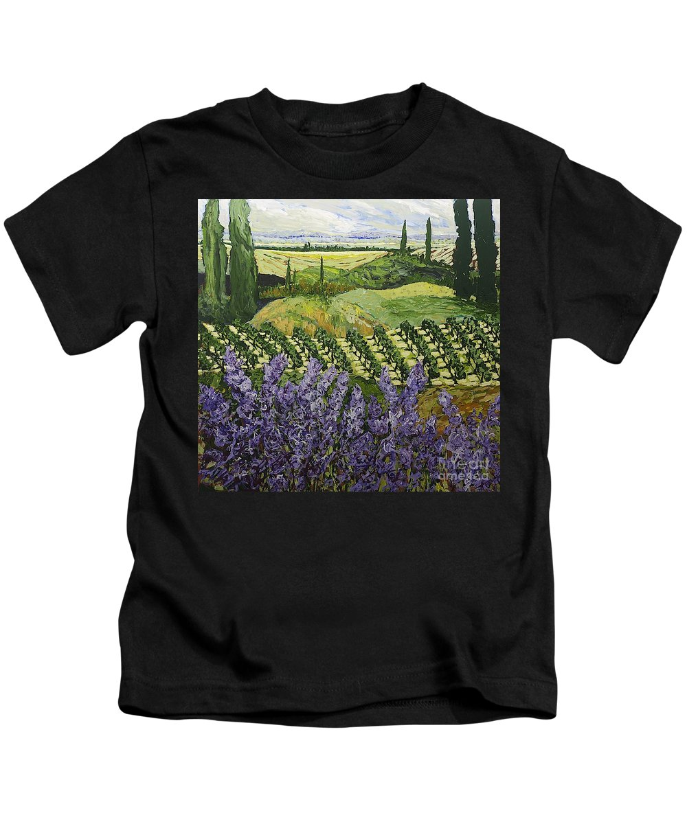 Landscape Kids T-Shirt featuring the painting Chinaberry Hill by Allan P Friedlander