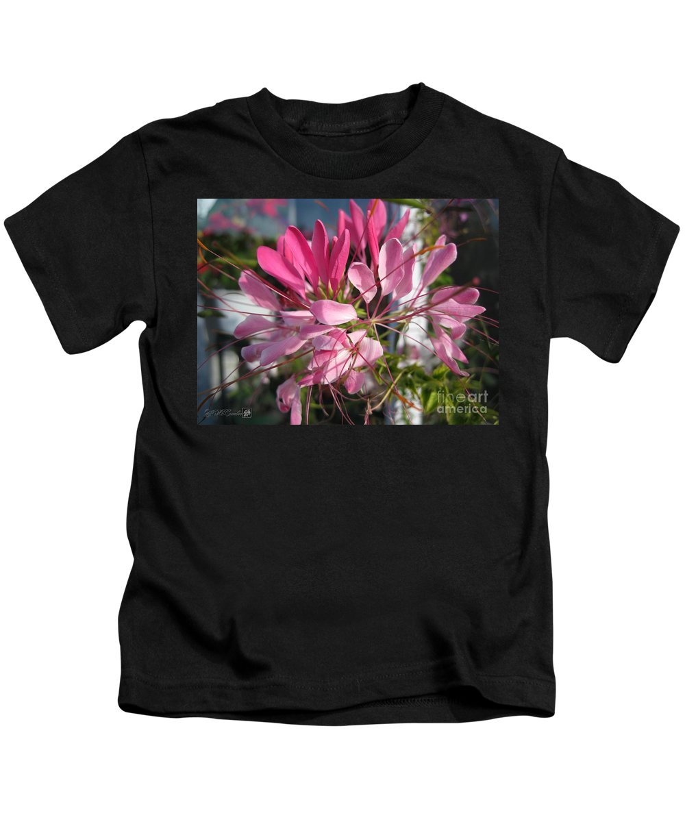 Cleome Kids T-Shirt featuring the photograph Cleome Named Cherry Queen by J McCombie