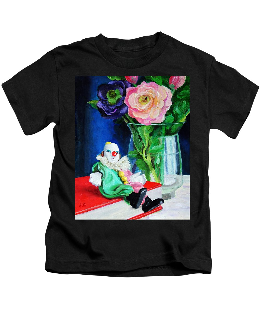 Clown And Flowers Still Life Kids T-Shirt featuring the painting Clown Book And Flowers by Edward Skallberg