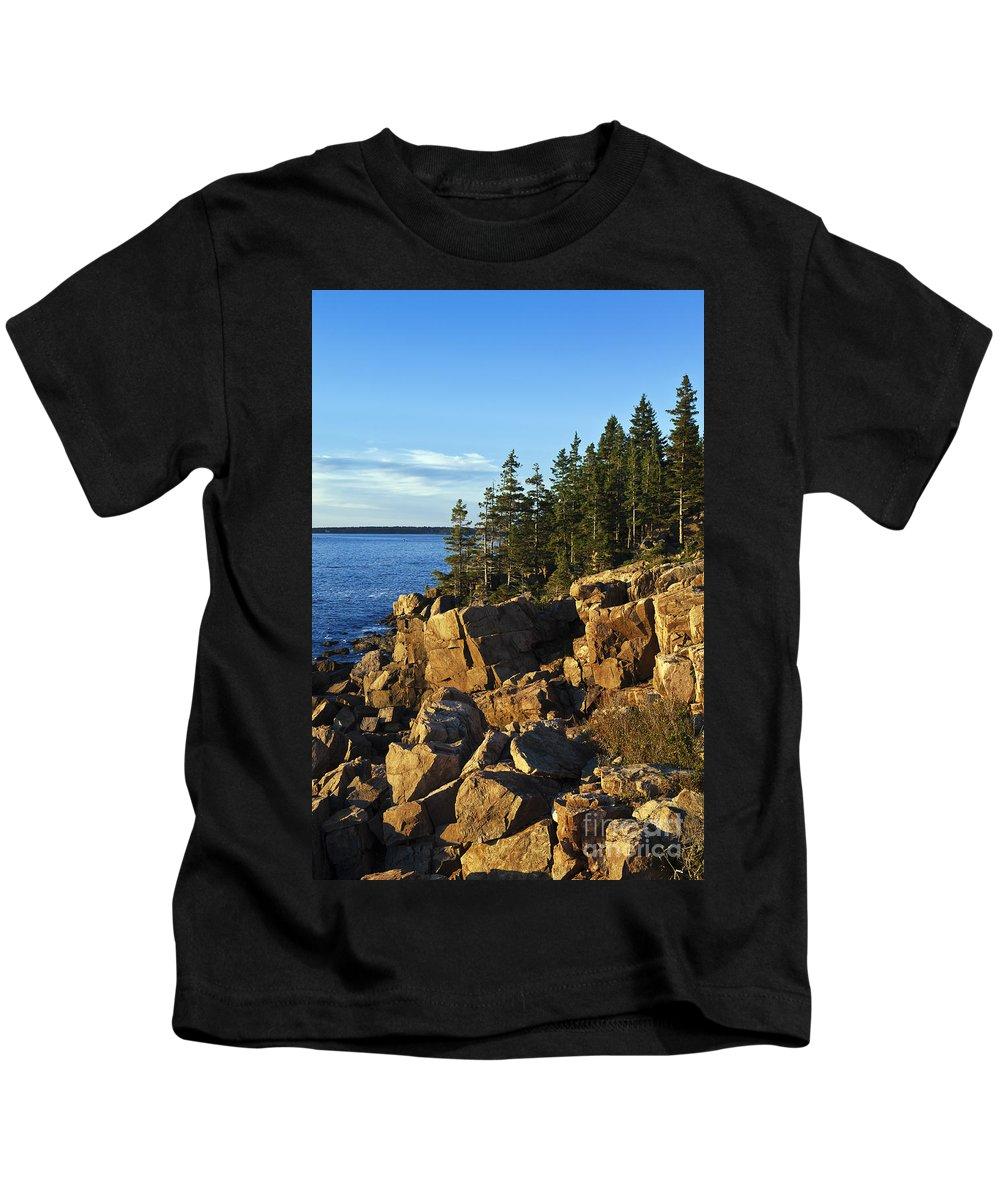 Acadia Kids T-Shirt featuring the photograph Coastal Maine by John Greim