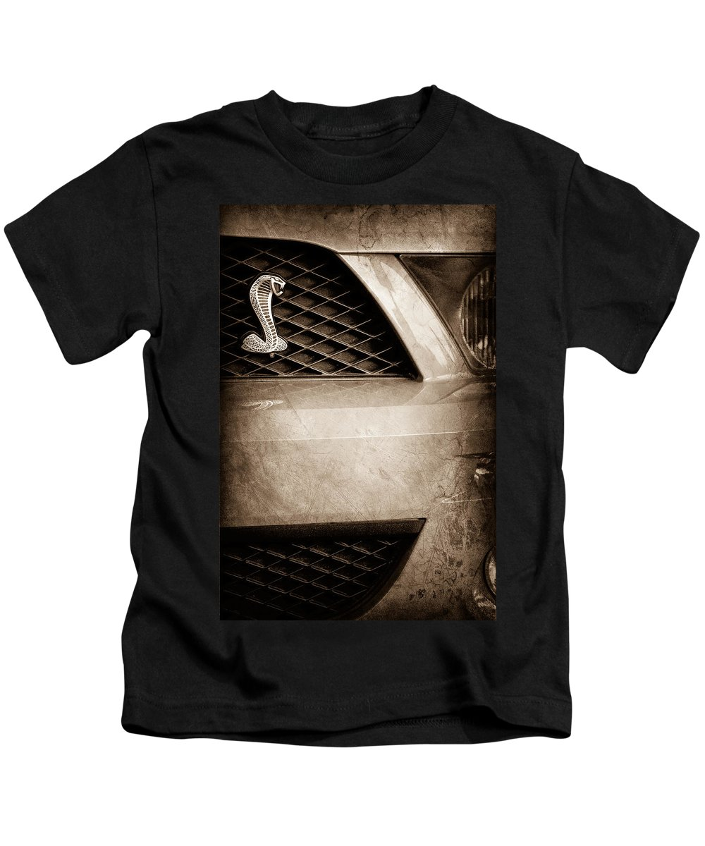 Cobra Grille Emblem Kids T-Shirt featuring the photograph Cobra Grille Emblem by Jill Reger