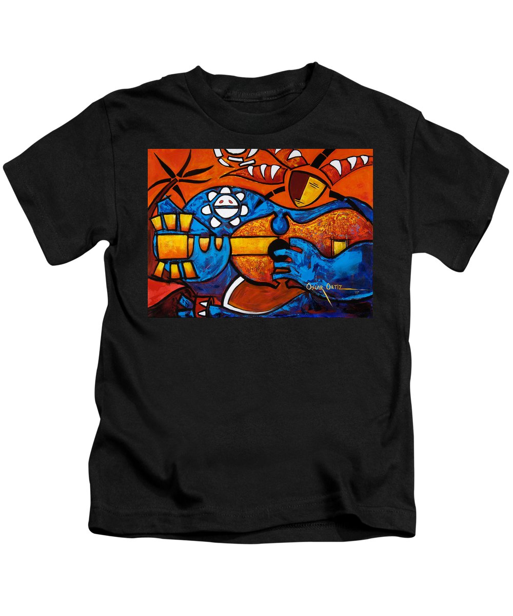 Puerto Rico Kids T-Shirt featuring the painting Cuatro En Grande by Oscar Ortiz