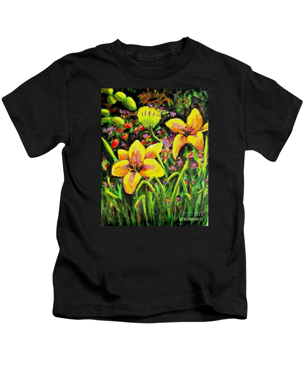 Lily Kids T-Shirt featuring the painting Cups Of Gold by Laurie Morgan