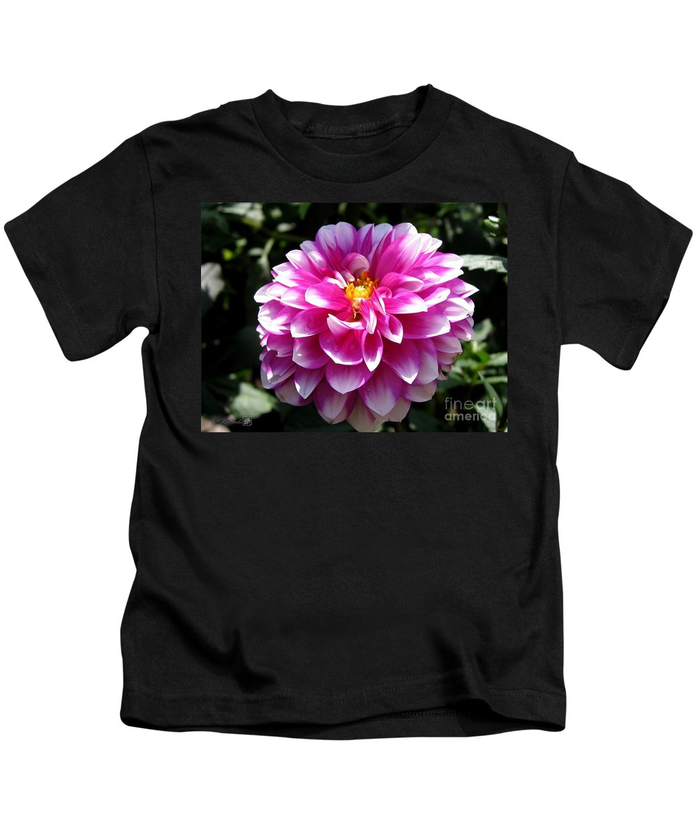 Dahlia Kids T-Shirt featuring the photograph Dahlia Named Brian Ray by J McCombie