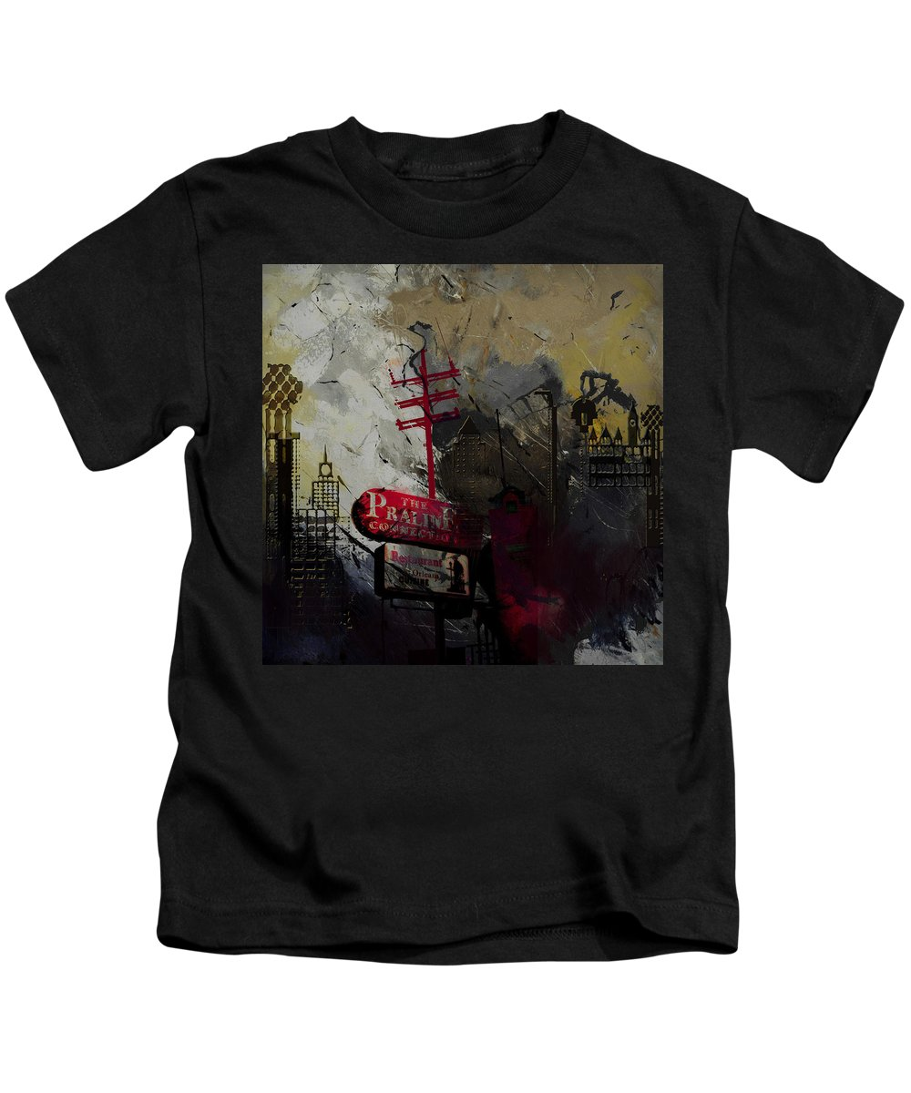San Antonio Kids T-Shirt featuring the painting Dallas Skyline 003 by Corporate Art Task Force