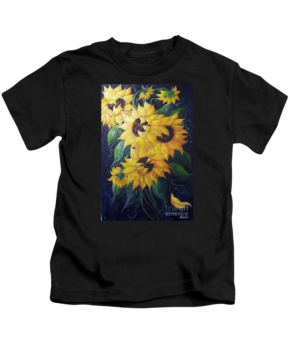 Sunflower Kids T-Shirt featuring the painting Dancing Sunflowers by Eloise Schneider Mote