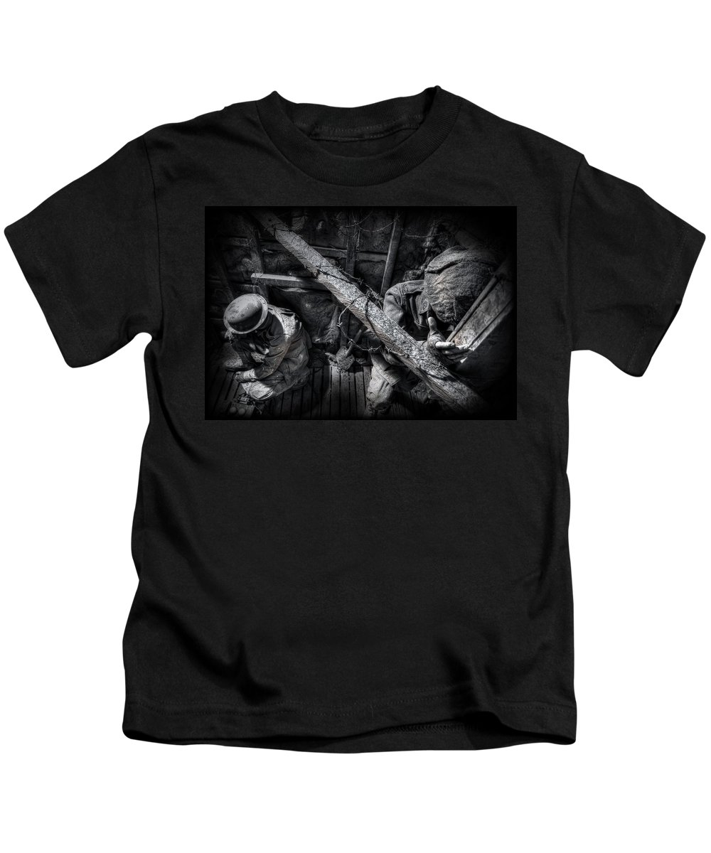 War Kids T-Shirt featuring the photograph Entrenched by Wayne Sherriff
