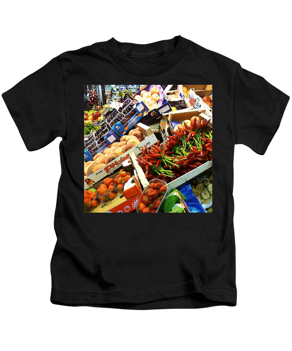 Peppers Kids T-Shirt featuring the photograph Farmers Market Florence Italy 2 by Irina Sztukowski