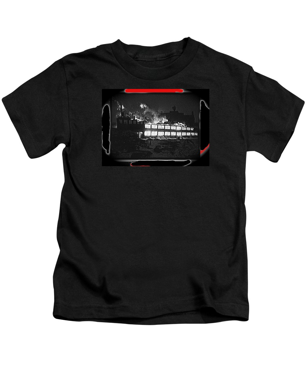 Film Homage Chris Marker La Jetee 1962 Winter Fire Collage Aberdeen South Dakota 1965-2013 Kids T-Shirt featuring the photograph Film Homage Chris Marker La Jetee 1962 Winter Fire Collage Aberdeen South Dakota 1965-2013 by David Lee Guss