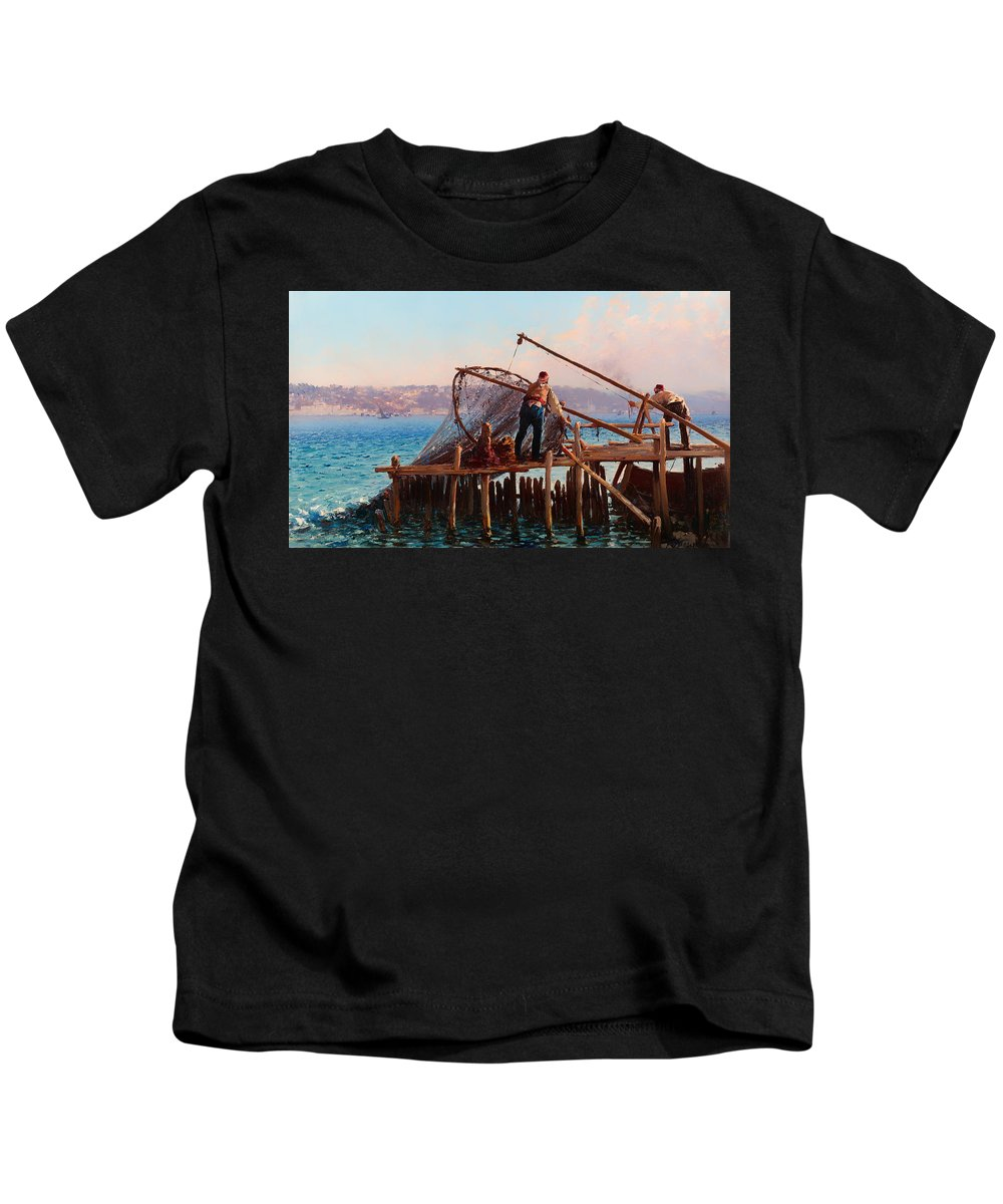 Painting Kids T-Shirt featuring the painting Fishermen Bringing In The Catch by Mountain Dreams