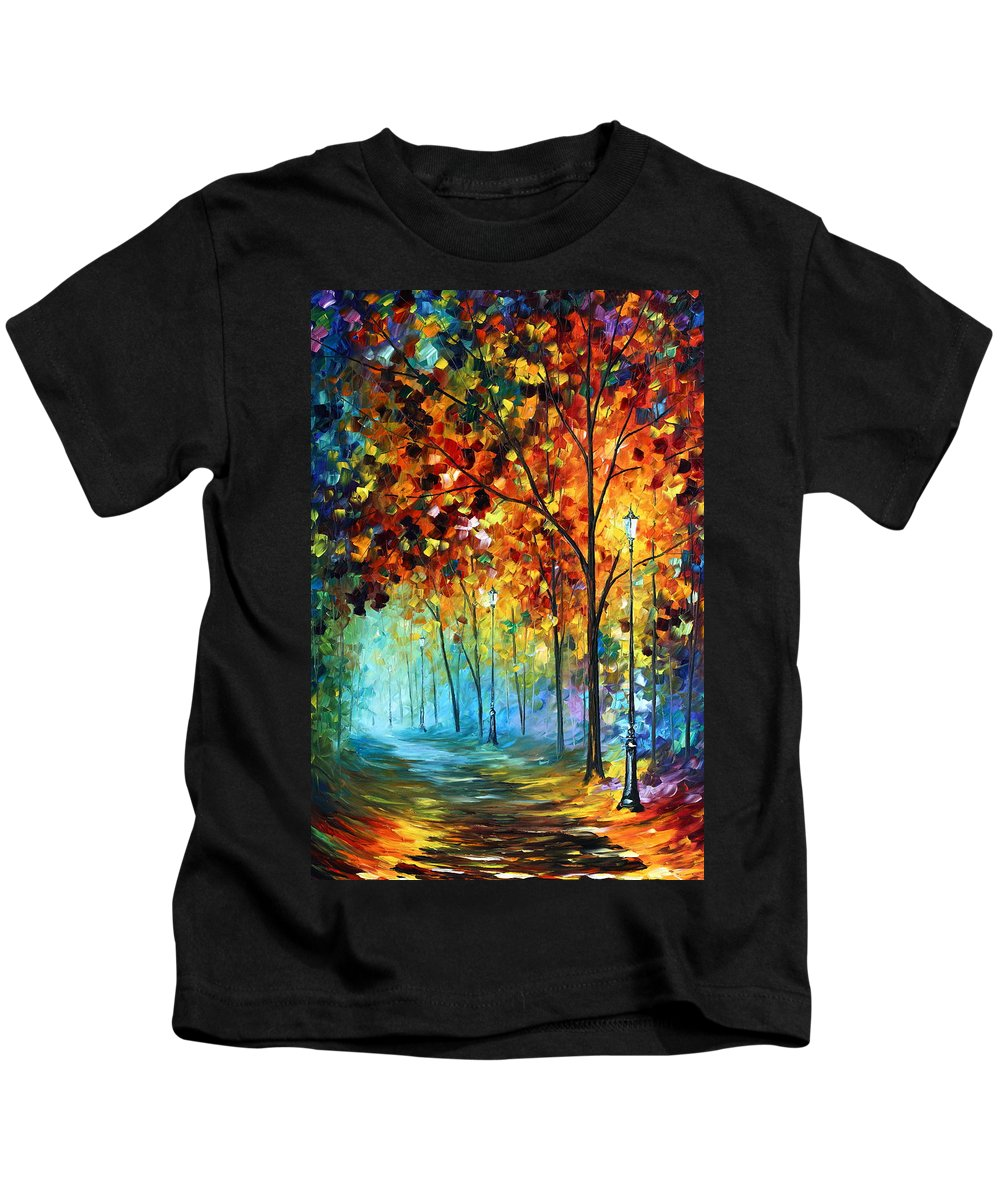 Park Kids T-Shirt featuring the painting Fog Alley by Leonid Afremov