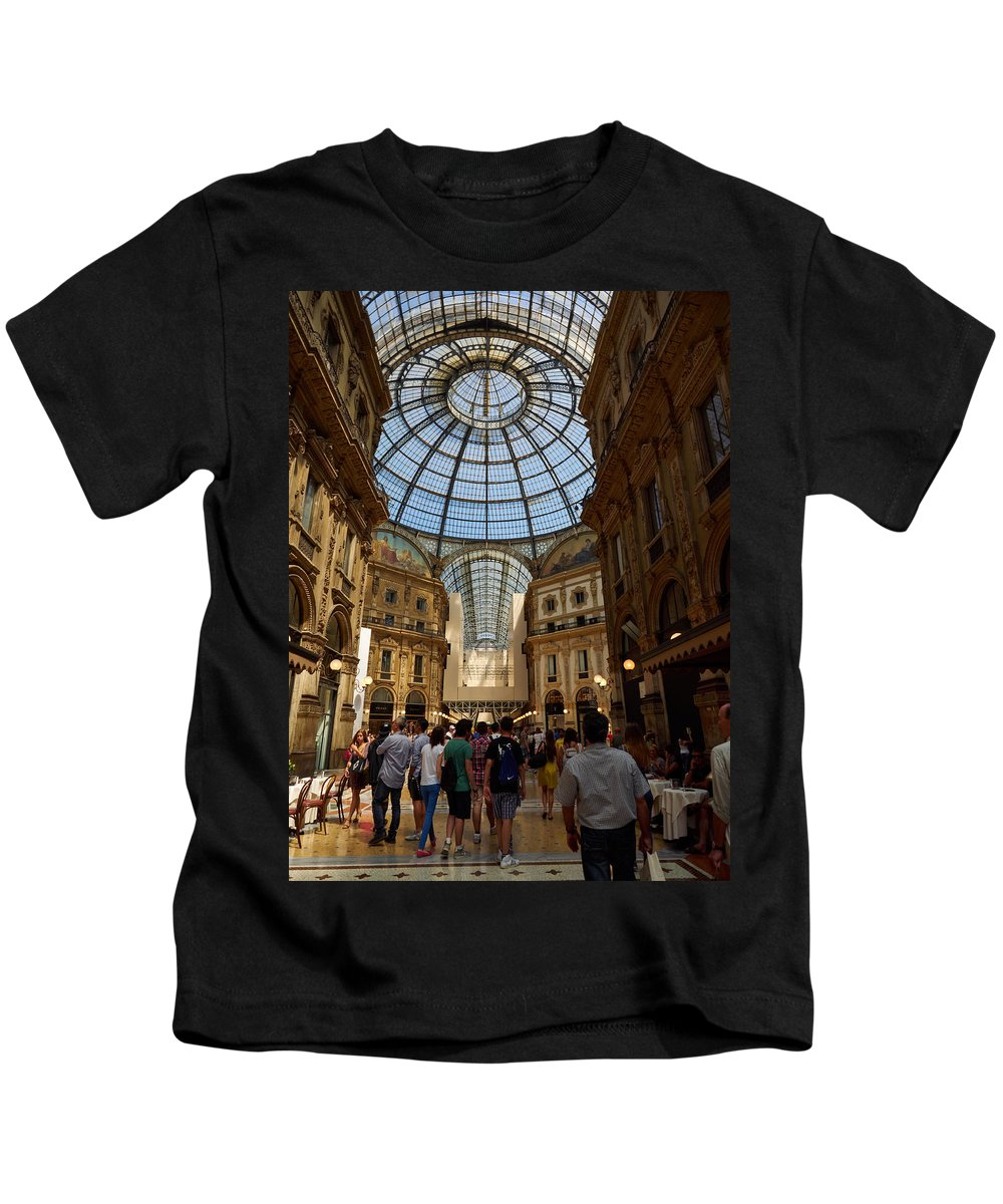 Italia Kids T-Shirt featuring the photograph Galleria Vittorio Emanuele. Milano Milan by Jouko Lehto
