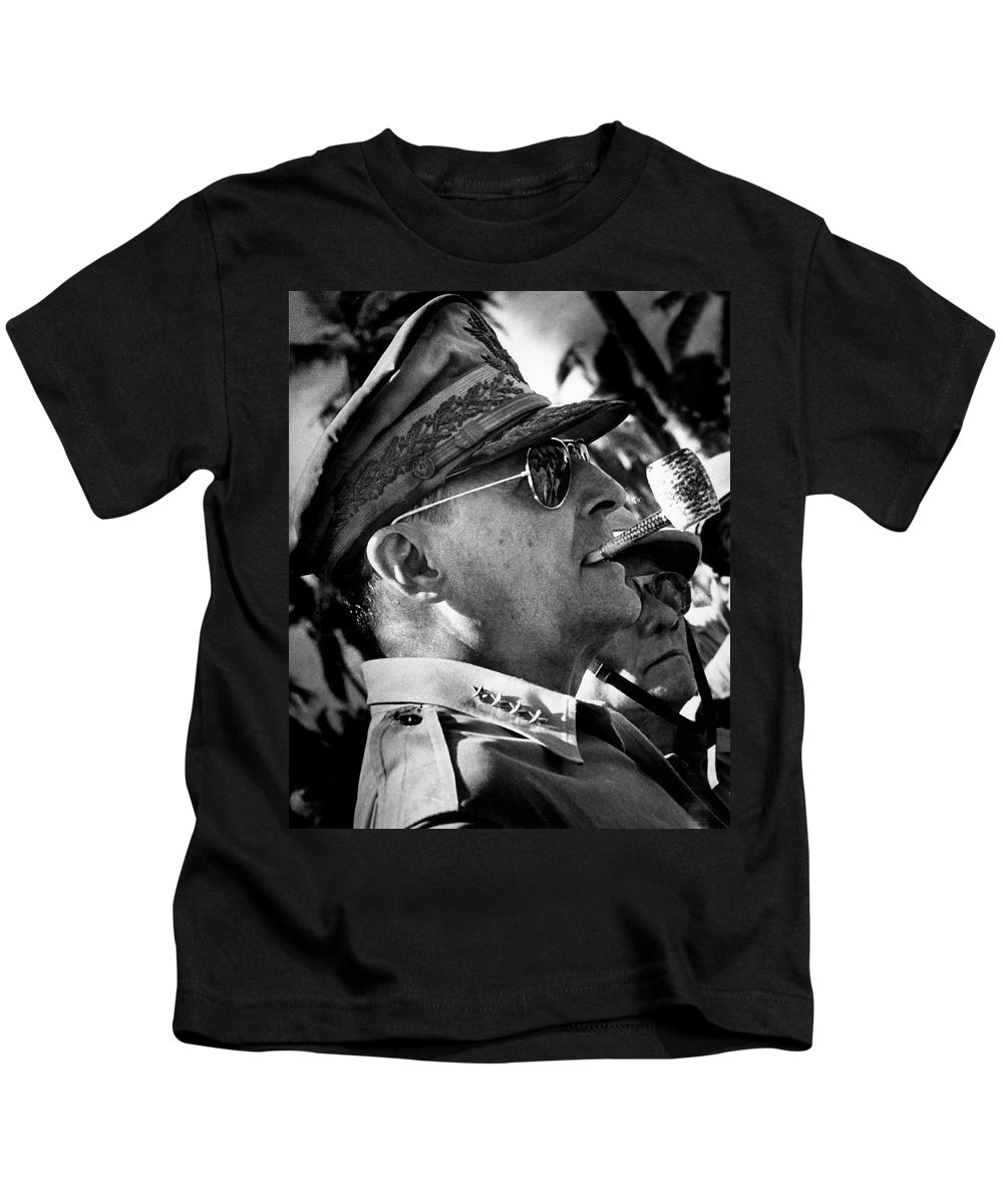 General Kids T-Shirt featuring the photograph General Douglas Macarthur by Mountain Dreams