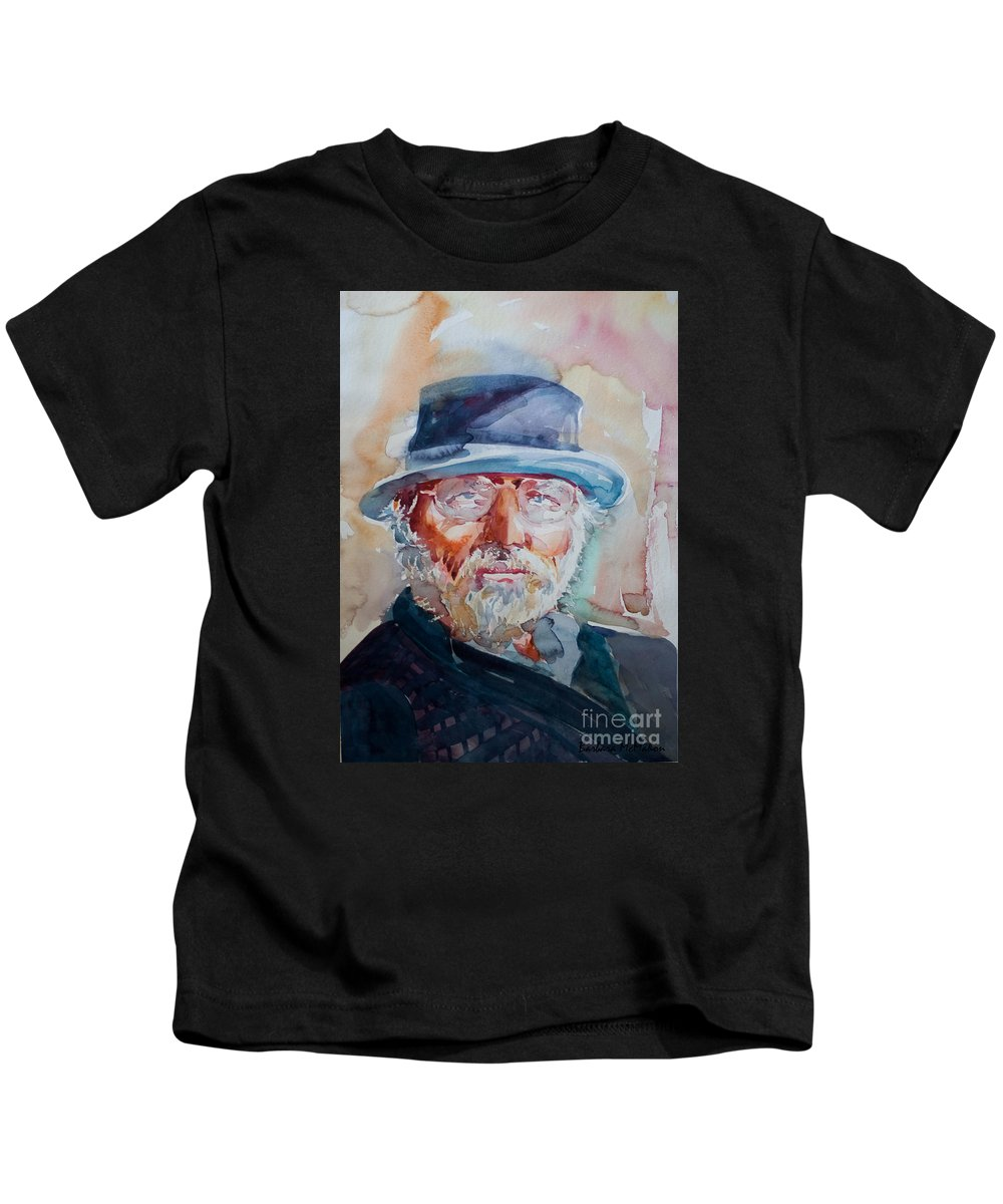Portrait Kids T-Shirt featuring the painting George by Barbara McMahon
