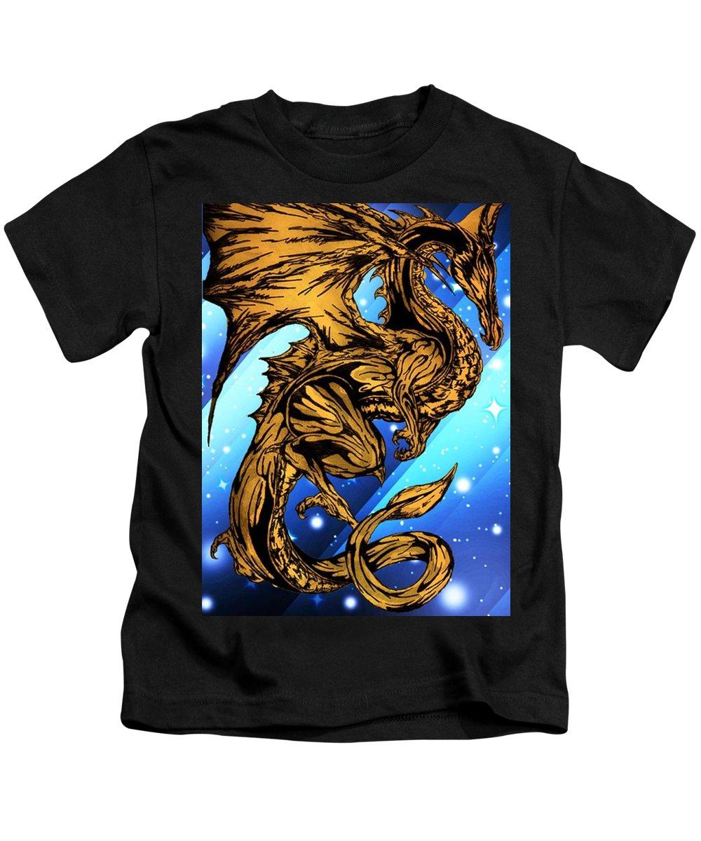 Fantasy Kids T-Shirt featuring the digital art Gold Metal Dragon by Daniel Lamb