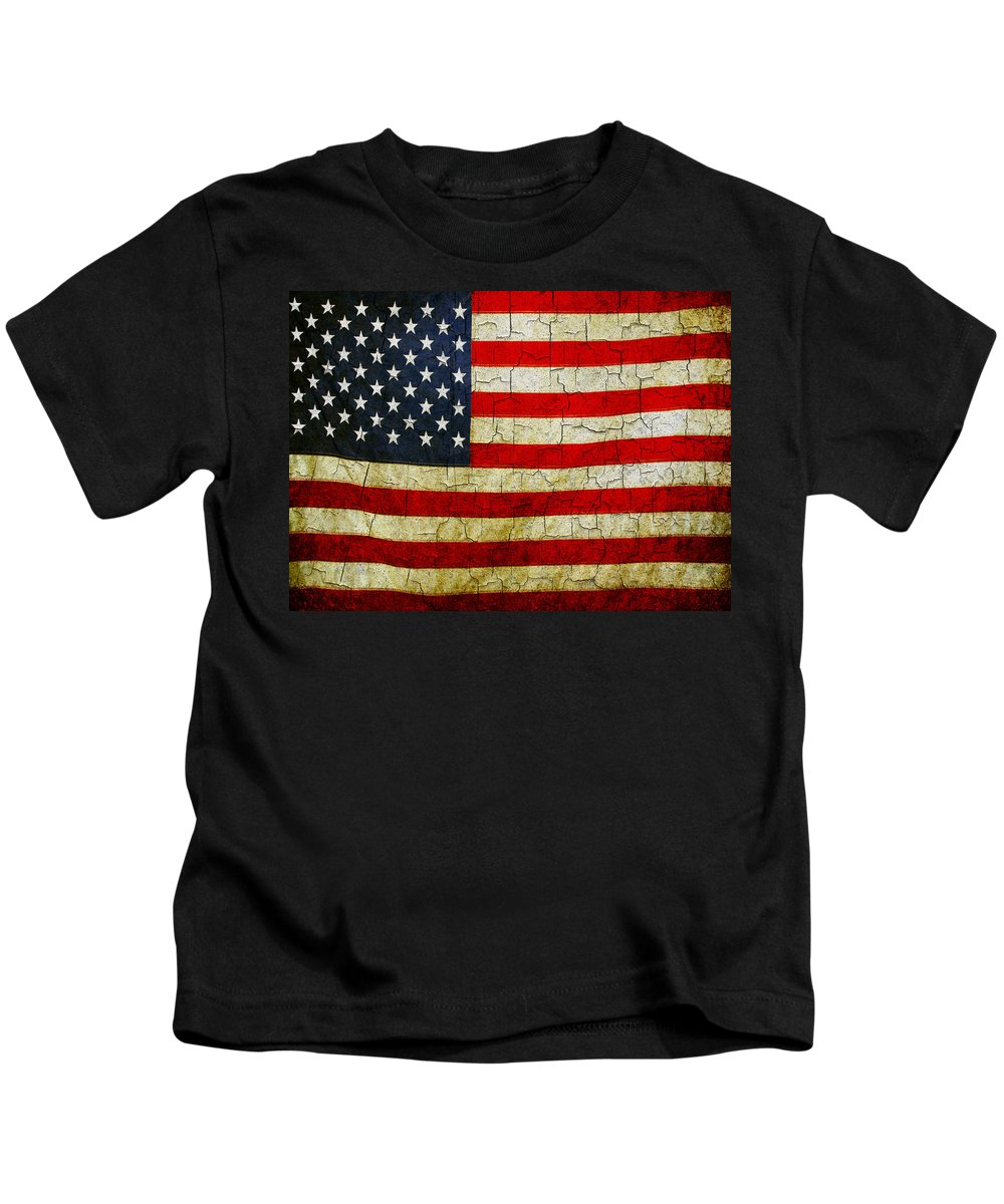 Aged Kids T-Shirt featuring the digital art Grunge American Flag by Steve Ball