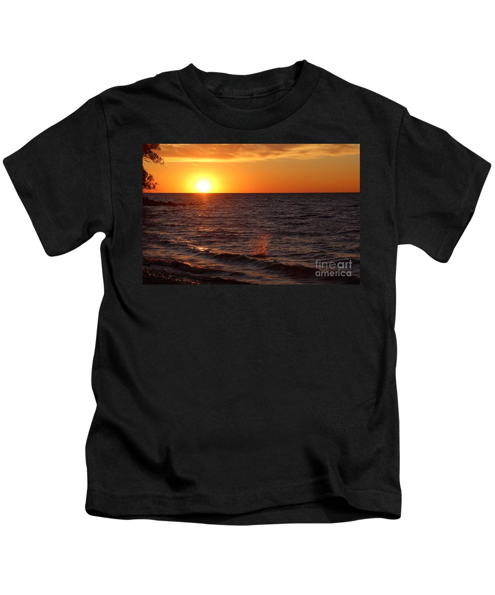 Water Kids T-Shirt featuring the photograph Lake Ontario Sunset by Jemmy Archer