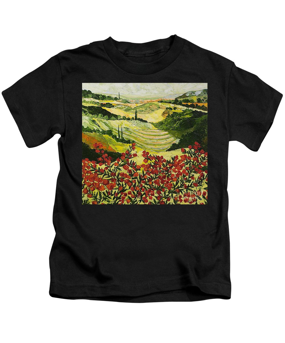Landscape Kids T-Shirt featuring the painting Look And Behold by Allan P Friedlander
