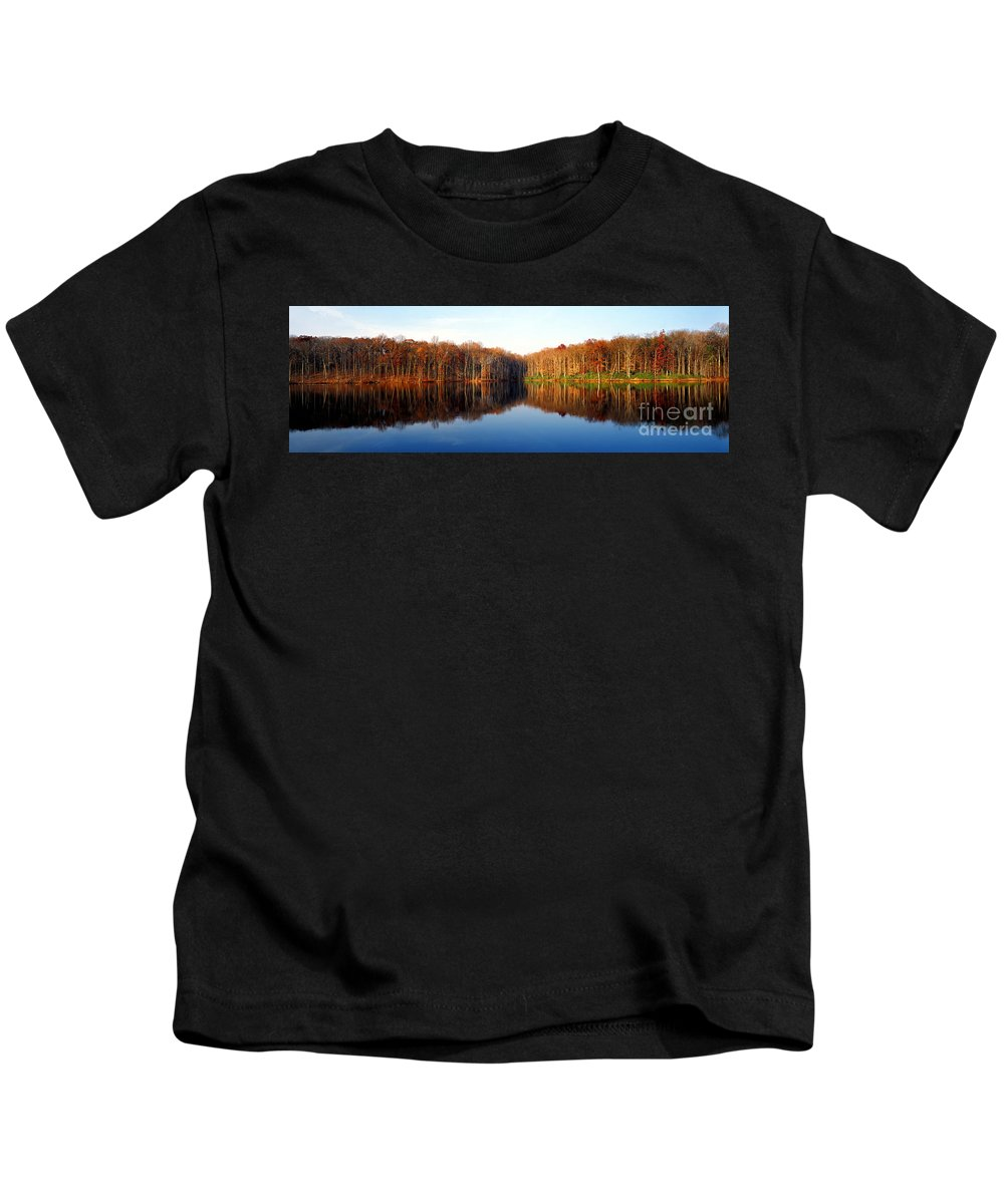 Lake Kids T-Shirt featuring the photograph Mirror Lake Panoramic by Mike Nellums
