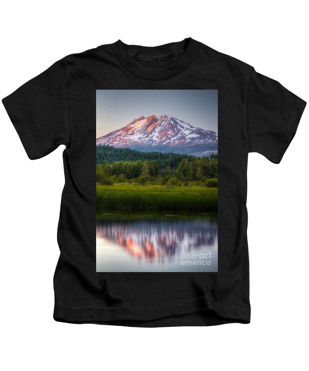 Mt Adams Kids T-Shirt featuring the photograph Mt Adams Sunset by Matt Hoffmann