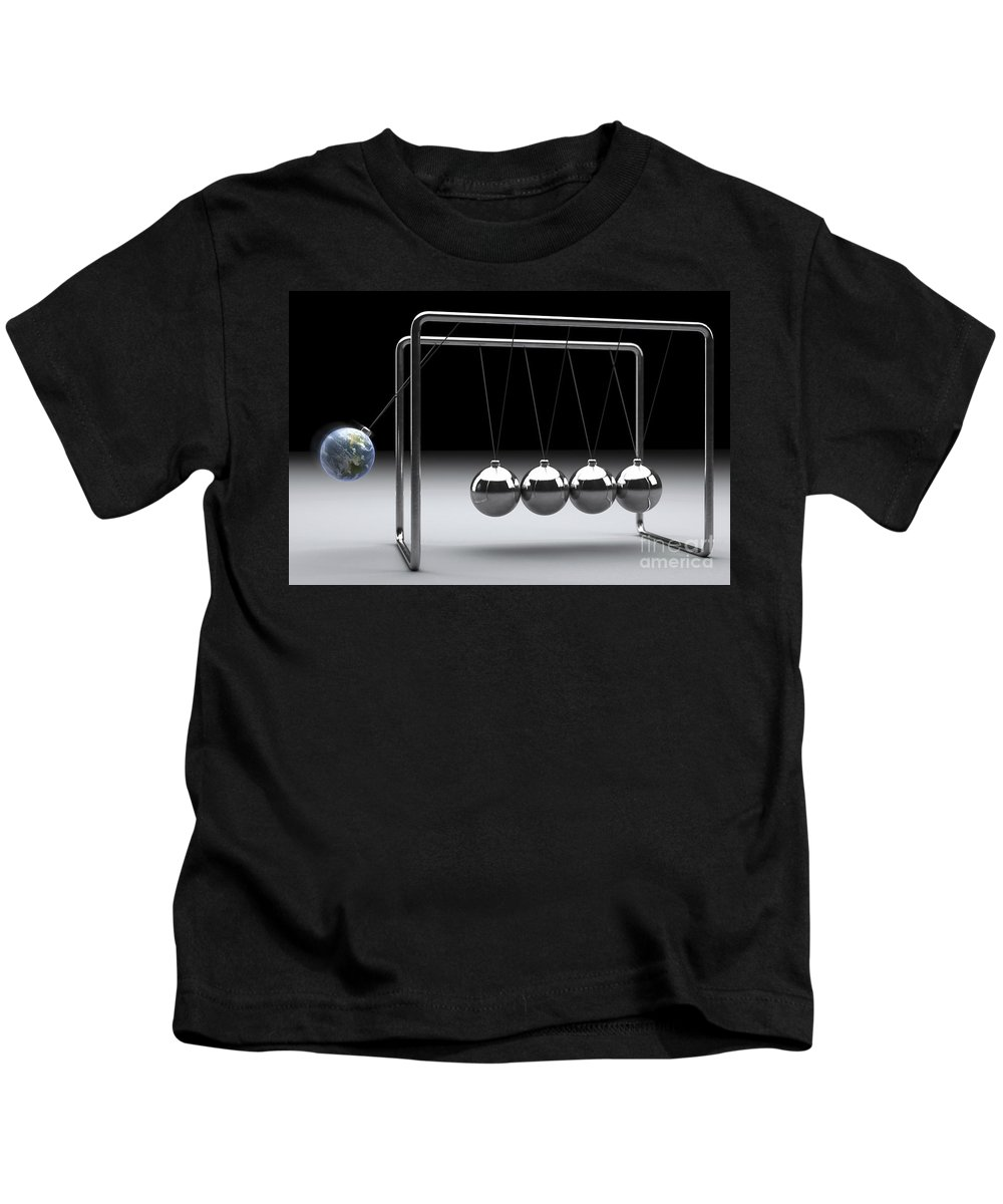 Gravitational Force Kids T-Shirt featuring the photograph Newtons Cradle by Science Picture Co