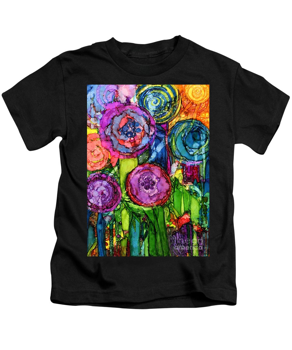 Abstract Kids T-Shirt featuring the painting Number Vi by Vicki Baun Barry