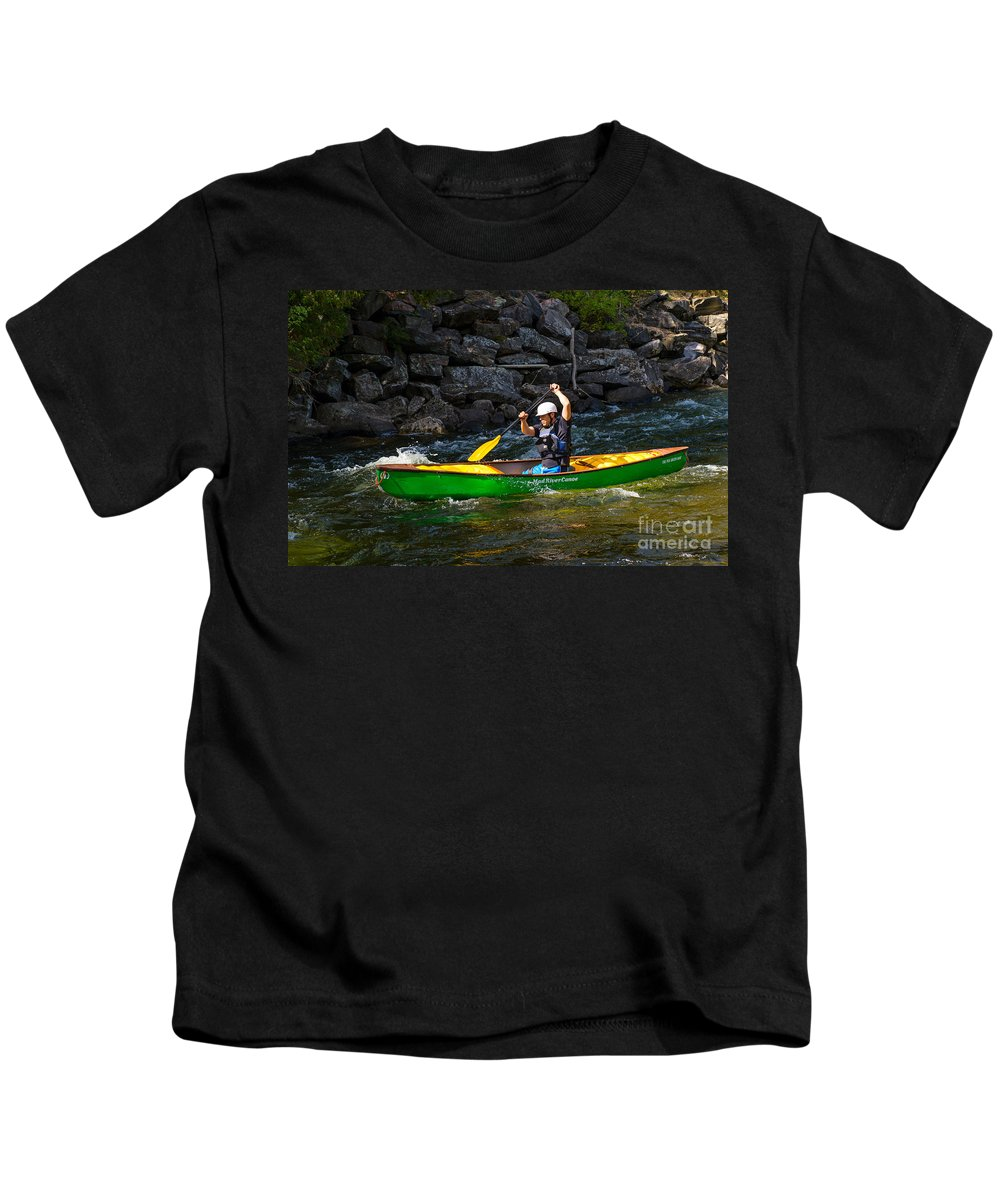 Canoe Kids T-Shirt featuring the photograph Paddler In A Whitewater Canoe by Les Palenik