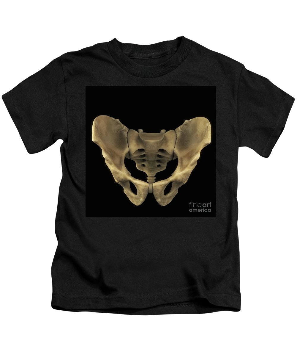 3d Visualisation Kids T-Shirt featuring the photograph Pelvic Bones Male by Science Picture Co