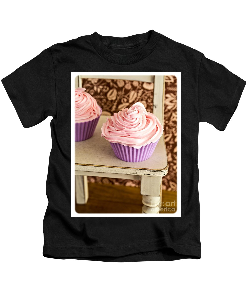 Cupcake Kids T-Shirt featuring the photograph Pink Cupcakes by Edward Fielding
