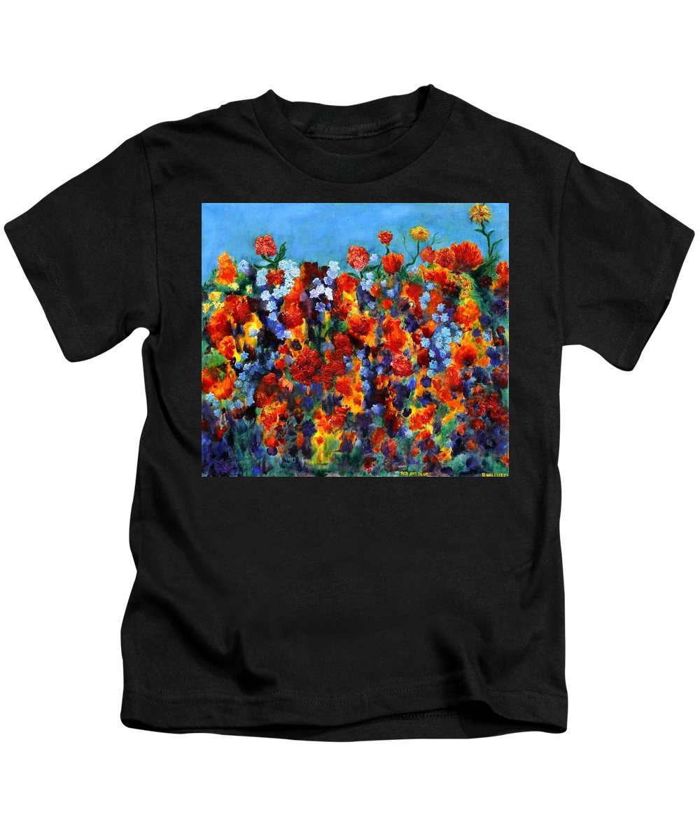 Floral Kids T-Shirt featuring the painting Red And Blue by Regina Valluzzi