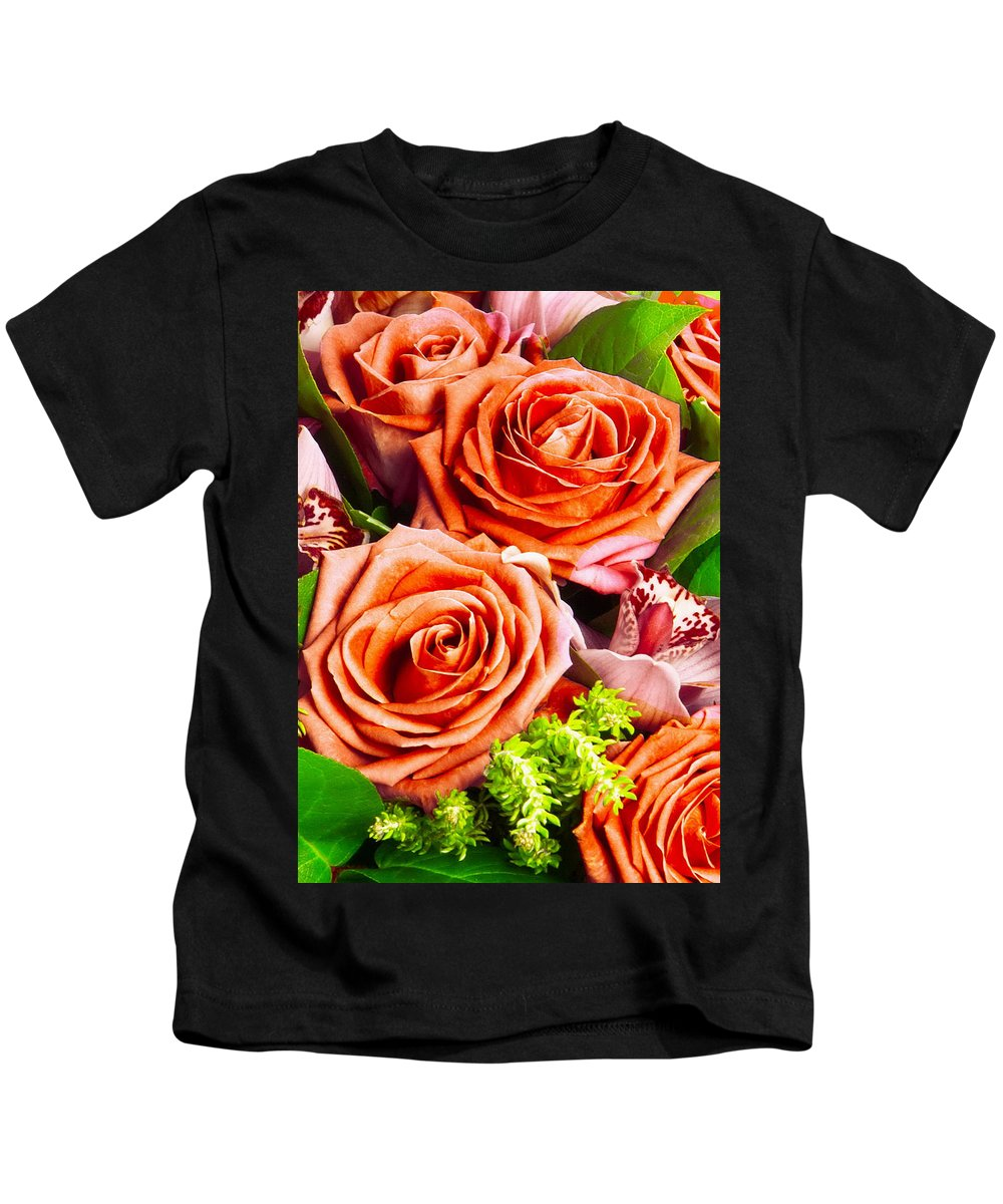 Red Kids T-Shirt featuring the photograph Red Roses by Munir Alawi