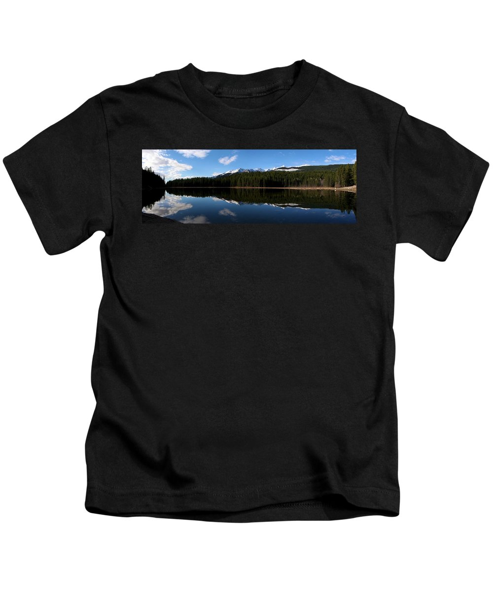 Landscape Kids T-Shirt featuring the photograph Reflection Bay - Jasper, Alberta - Panorama by Ian Mcadie