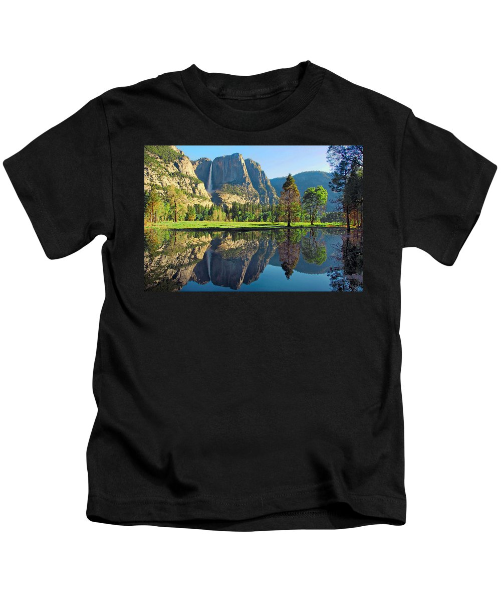 Yosemite National Park Kids T-Shirt featuring the photograph Reflections Of Yosemite Falls by Lynn Bauer