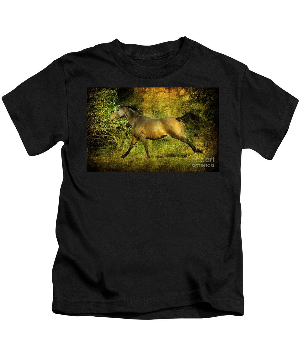 Horses Kids T-Shirt featuring the photograph Running Free by Angel Ciesniarska