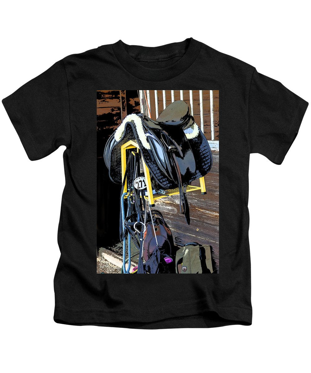 Rocking Horse Stables Kids T-Shirt featuring the photograph Saddle Up by Rich Franco