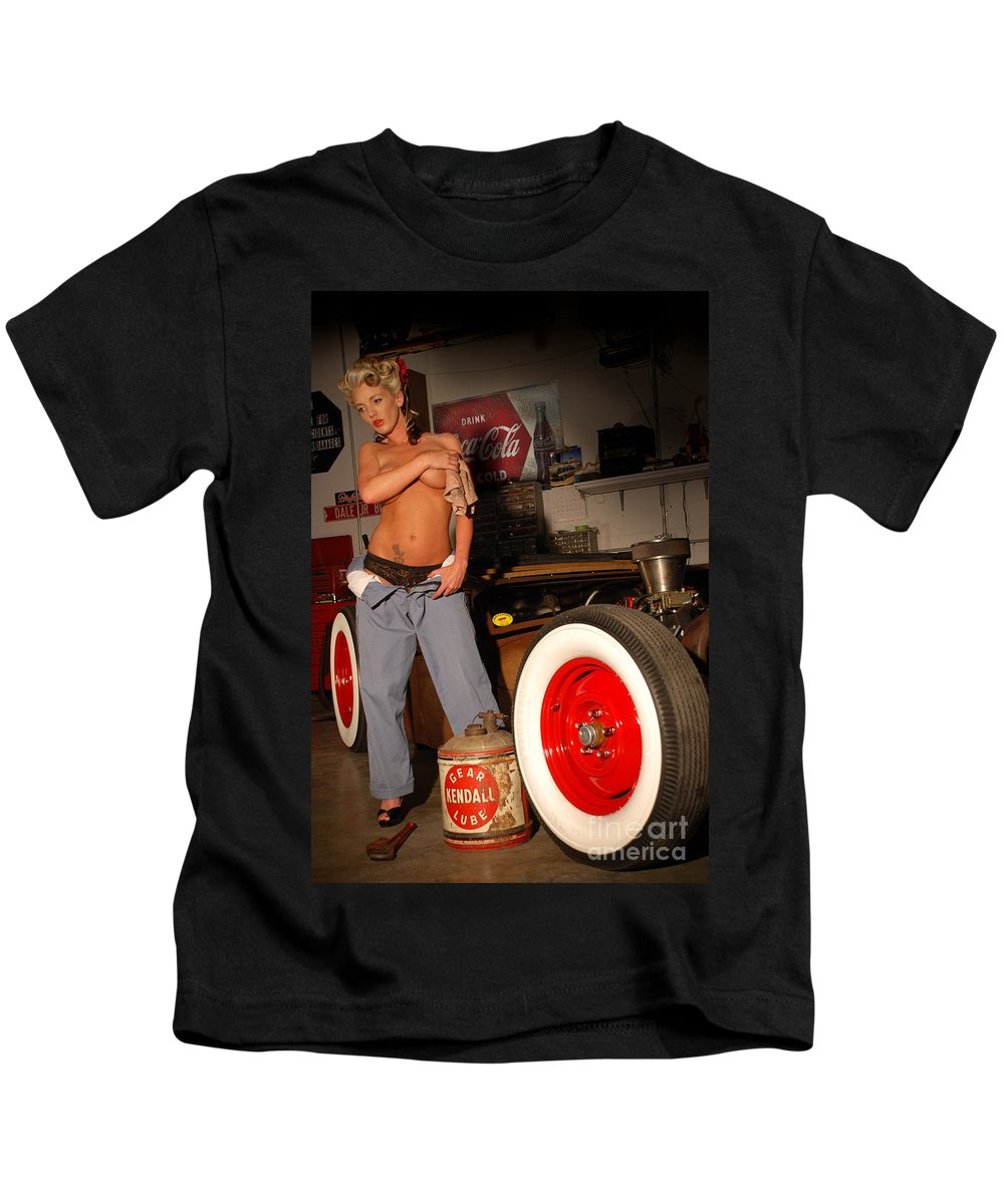 Sexy pinup girl with rat rod car kids t shirt for sale by jt photodesign