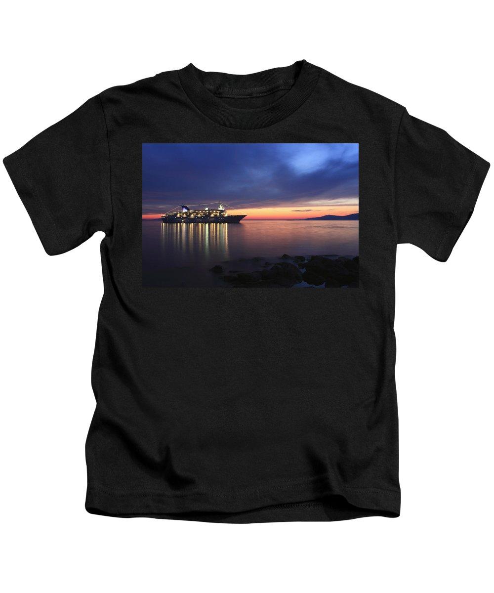 Aegean Kids T-Shirt featuring the photograph Ship At Mykonos Bay Mykonos Cyclades Greece by Ivan Pendjakov