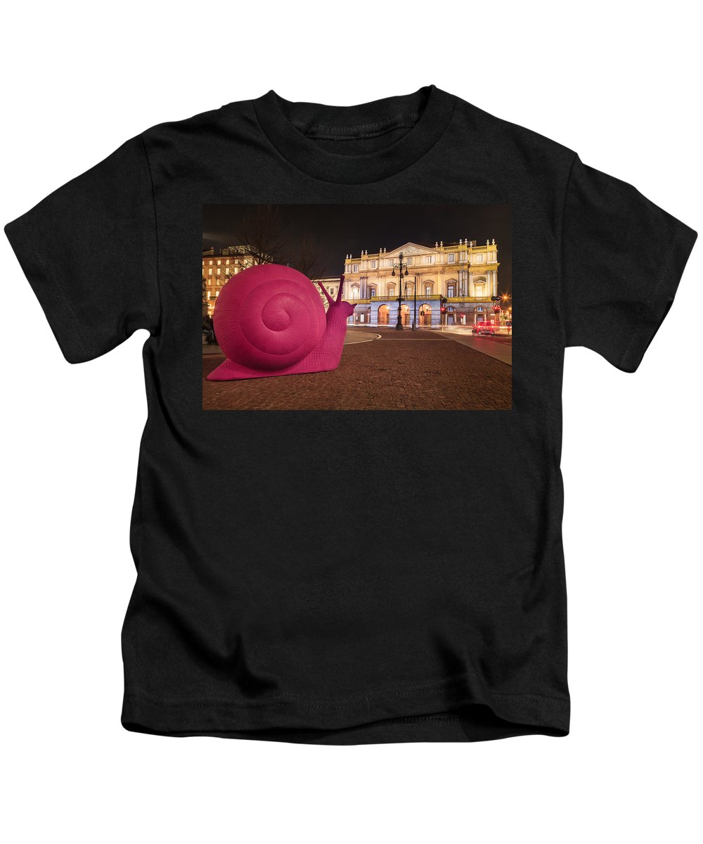 Snails Kids T-Shirt featuring the photograph Snails Attack Milan by Alfio Finocchiaro