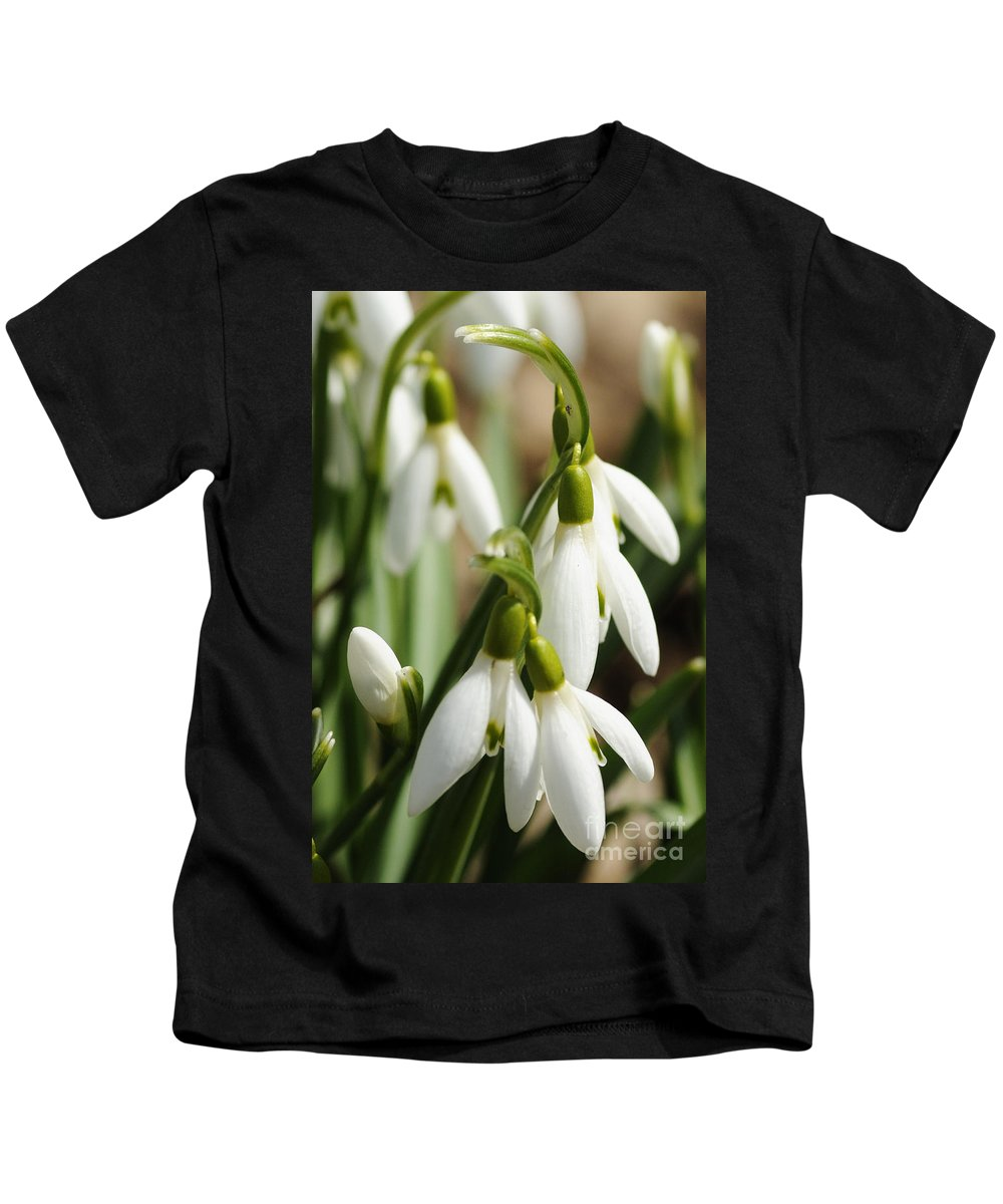 Photography Kids T-Shirt featuring the photograph Snowdrops by Larry Ricker